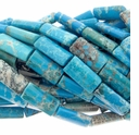 Blue Turquoise Howlite 20x10mm Rectangular Beads 15 Inch Strand