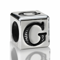 5.6mm Sterling Silver Alphabet Beads Letter G