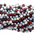 Multi-color Cranberry White and Lt. Blue Baroque Potato Freshwater Pearl 5-6mm Bead Strand