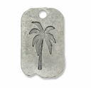 Antiqued Silver 34mm Palm Tree Dog Tag Pendant (3PK)