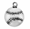 Antiqued Silver Baseball Charm (10PK)