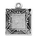 Antiqued Silver Square Picture Frame Charm (5PK)