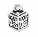 Antiqued Silver Floral Square Box Charm (10PK)