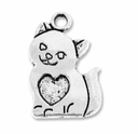 Antiqued Silver 21mm Cat Charm (5PK)