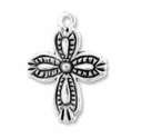 Antiqued Silver Plated 18mm Decorative Cross Charm (10PK)