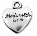 Antiqued Silver Large 20mm Made With Love Heart Charm (5PK)