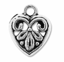Antiqued Silver 14mm Ornate Heart Charm (10PK)