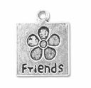 Antiqued Silver FRIENDS Flower Square Charm (10PK)