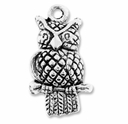 Antiqued Silver Owl Charm (10PK)