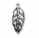 Antiqued Silver 24x11mm Leaf Charm (10PK)
