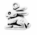 Antiqued Silver Bunny Rabbit Charm (10PK)