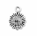 Antiqued Silver Small Sunflower Charm (10PK)