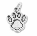 Silver Plated Paw Print Charm (5PK)