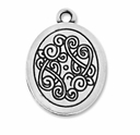 Antiqued Silver Decorative 23mm Oval Charm (5PK)