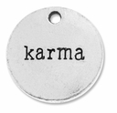 Antiqued Silver Karma Round Coin Charms (5PK)