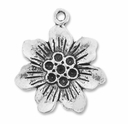 Antiqued Silver Large 25mm Flower Charms  (5PK)