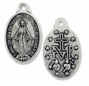Antiqued Silver Miraculous Medal Charm (10PK)