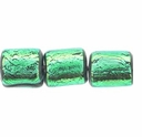 7mm Green Black Dichroic Tube Glass Bead (1PC)