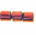 7mm Rust Black Dichroic Tube Glass Bead (1PC)