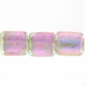 7mm Pink Clear Dichroic Tube Glass Bead (1PC)