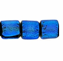 7mm Aqua Black Dichroic Tube Glass Bead (1PC)