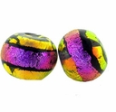 10mm Orange/Clear/Black/Pink Dichroic Glass Bead (1PC)
