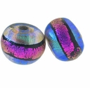 10mm Aqua Clear w/ Pink Band Round Dichroic Glass Bead (1PC)
