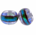 10mm Aqua Clear Dichroic Glass Bead (1PC)