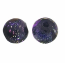 10mm Black and Purple Dichroic Round Glass Beads (1PC)