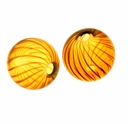 Hand Blown 13mm Round Amber/Brown Swirl Beads (1 PC)