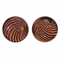 Hand Blown 13mm Round Brown Black Swirl Beads (1PC)