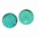 Hand Blown 13mm Round Lt. Blue/White & Gold Swirl Beads (1 PC)
