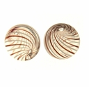 Hand Blown 13mm Round Clear/White & Brown Swirl Beads (1 PC)