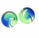 Handblown 13mm Blue Green Black Swirl Beads (1PC)