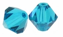 Blue Zircon 5328 4mm Swarovski Crystal XILION Bicones Beads (10PK)