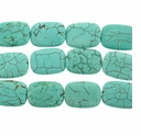 10x14mm Blue-Green Turquoise Pillow Beads 16 inch Strand
