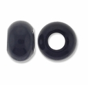 Black Obsidian Large Hole Gemstone Rondelle12x8mm (2PK)