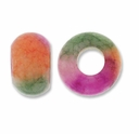 Multi-color Jade Large Hole Gemstone Rondelle12x8mm (2PK)