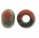 Unakite Large Hole Gemstone Rondelle12x8mm (2PK)