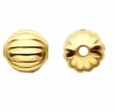 Gold Plated 6mm Corrugated Round Beads (25PK)