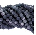 8mm Black Efflorescence Agate Round Beads 15 inch Strand