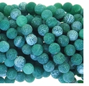 10mm Green Efflorescence Agate Round Beads 14 inch Strand