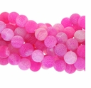 10mm Pink Efflorescence Agate Round Beads 14 inch Strand