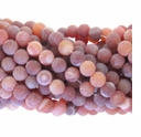 8mm Natural Red Efflorescence Agate Round Beads 14 inch Strand