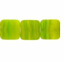 Czech Hurricane Glass 9mm Flat Square Yellow/Green (25PK)