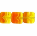 Czech Hurricane Glass 9mm Flat Square Orange Yellow (25PK)