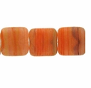 Czech Hurricane Glass 9mm Flat Square Orange  (25PK)