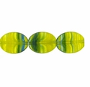 Czech Hurricane Glass 12x10mm Flat Oval Green Yellow (25PK)