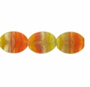Czech Hurricane Glass 12x10mm Flat Oval Yellow Orange (25PK)