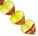 Czech Hurricane Glass 10mm Flat Heart Yellow Red (25PK)